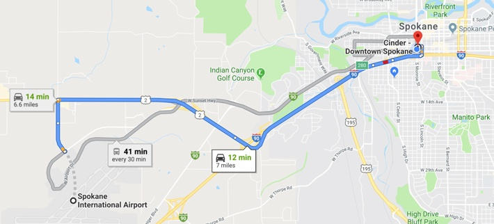 Spokane dispensary map showing the travel route from the Spokane airport to Cinder Downtown